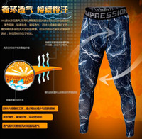Wholesale Cross Leggings Xl - free shipping 2pcs Mens Running Camo Base Layer Fitness Jogging Compression Tights Long Pants Sport Basketball Training Leggings pants