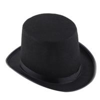 ingrosso capo nero satinato-All'ingrosso-Halloween Magician Magic Hat Jazz cappello nero nero raso capo abiti di Halloween per adulti # B725