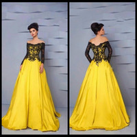 Wholesale Hot Sexy Dresse - Hot Sell A Line Off Shoulder Appliques Prom Dress Long Sleeves Black Lace Women Formal Dresse Prom Gowns Robe de Soiree