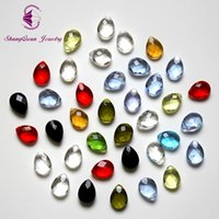 Wholesale Crystal Drop Loose Beads - Free Shipping 9X12mm 50pcs Drop Water Cross Hole loose faceted glass crystals beads bracelet Jewelry DIY SQ07912