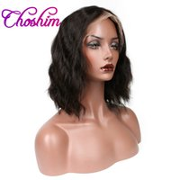 Wholesale Rosa Brazilian Hair - Glueless Lace Front Human Hair Wigs Brazilian Remy Natural Wave 130% Density Bleached Knots Bob Wigs For Black Women Slove Rosa