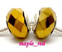 ingrosso perline di acqua rosa-50pcs / Lot placcato oro sfaccettato perline di cristallo per monili che fanno incantesimi sciolti perline fai da te per il commercio all'ingrosso del braccialetto in prezzo basso di massa