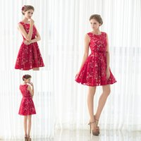 Wholesale Elegant Scooped Back Cocktail Dress - 100% Real Picture Scoop Neck Party Dress Red Lace Mini Short Zipper Back Elegant Evening Prom Dress Cocktail Homecoming Party Dress