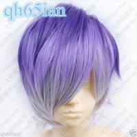 Wholesale Diabolik Lovers - 100%Free shipping New High Quality Fashion Picture Indian Mongolian wigs>>DIABOLIK LOVERS Sakamaki Kanato Short Purple mix colors Cosplay Fa