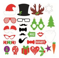 hochzeitsstand requisiten großhandel-28 stücke Foto Booth Props DIY Maske Schnurrbart Stick Requisiten sets Hochzeit Geburtstag Weihnachtsfeier Xmas Decor