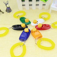 Wholesale Dog Clicks - Pet Dog Training Click Clicker Agility Training Trainer Aid Wrist Lanyard Dog Training Obedience Supplies 6 Colors mixed free shipping