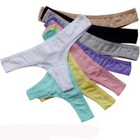 Wholesale Sexy Crotchless Thongs - Promotion Cotton Seamless Thong Underwear Women Plain Color G-String Sexy Crotchless Panties Lingerie Intimate Tanga Calcinha