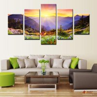 Wholesale Cheap Huge Wall Art - Huge HD Canvas Print Modern Abstract Art Oil Painting on Canvas Sunrise Scenery Wall Pictures For Living Room Large Canvas Art Cheap