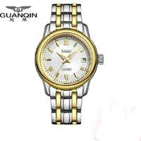 Wholesale Guanqin Watch Ladies - Guanqin fashion women dress watches top brand luxury quartz watch ladies luminous full steel gold wristwatch relojes mujer 2015