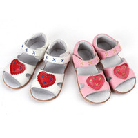 Wholesale toddler girl genuine leather sandals - Hot Toddler Little Girls' Sandals Genuine Leather Heart&X Design Open Toed Beathable Soft TPR Sole Anti-slip Anti-friction