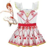 Wholesale Girls Wing Dress - Kids Girls Suspender Dress Lace Wing Sleeve Polka Dot Printed Dresses Girl Ballet Dresses Children Ballerina Dancing Clothing