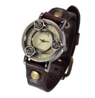 reloj de cuero vintage para damas al por mayor-Envío gratis Moda Vintage Skeleton Rose Flower Watch Mujeres Reloj de pulsera Correa de cuero Ladies Reloj de cuarzo Reloj Montre Femme Relojes Mujer