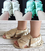 Wholesale Wholesale Gladiator Heels - Fashion baby girl boy Fringed leather moccasins sandals First Walker Shoes kids toddler tassel non slip shoes 3M-18M 9colors