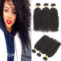 Wholesale Good Wavy Weave - Good Quality Brazilian Wavy Bundles Kinky Curly Virgin Hair 3Pcs Lot Natural Black 100% Unprocessed Peruvian Bundles Curly Human Hair
