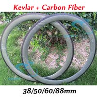 Wholesale Carbon Fiber Rims Bicycle - Wholesale-New Arrival 38mm 50mm 60mm 88mm 700c Kevlar Carbon Fiber Bike Wheel Rims Bicycle Wheels Clincher Tubular