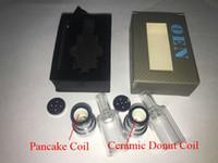 Wholesale Pancake Box - OEN Ceramic Donut atomizer wax burning device ceramic wax e solid vaporizer mass atomizer Dry Herb Pancake vaporizer tank for Box Mod