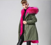 Wholesale Black Rose Hoods - MR & MRS Itlay Long rabbit fur lined parka Rose red fur MR & MRS FURS Canvas shell parka Army green coats