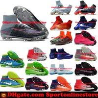 Wholesale High Tops Children - Children Soccer Shoes Kids Soccer Cleats CR7 Cristiano Ronaldo Men Mercurial Superfly FG TF High Top Youth Boys Football Boots Women Turf