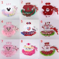Wholesale Girl Suit Flag - 18 Design Baby Christmas Xmas Minnie rompers 3pcs set suits happy birthday Newborn national flag girl Lace rompers cake dress shoes B001