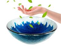Lavabo De La Salle De Bains Lavabo En Verre Bleu De Style Méditerranéen  Arts Autres Fournitures De Toilette Bain Adapté Aux Familles, La Salle De  Bain