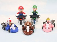 "Wholesale Mario Karts - super bros Super Bros Kart Pull Back Car PVC Action Figure Toys Mario Cars Karts 2"" 10pcs set Free Shipping"