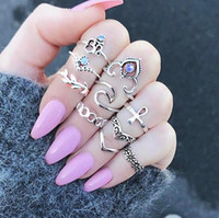 Wholesale Female Ring Finger - Boho Joint Midi Ring 10 Pieces Female Fashionable Finger Knuckle Ring Arrow Cross Retro Jewelry Gift