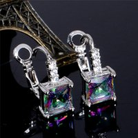Atacado- SHUANGR Hot Sale Sliver Color Earrings Pretty Square Multicolor Cubic Zirconia Womens Hoop Earrings