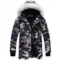 casacos mais legais para homens venda por atacado-Atacado- 2016 nova jaqueta de inverno para mens parka Moda cool homens camuflagem gola de pele grande longo design amassado jaqueta outerwear casaco quente