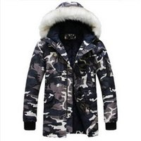 Wholesale Long Coat Designs For Men - Wholesale- 2016 new winter jacket for mens parka Fashion cool men Camouflage large fur collar long design wadded jacket outerwear warm coat
