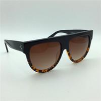 grandes quadros vintage venda por atacado-Novo óculos de sol do vintage CE41026 audrey moda óculos de sol das mulheres designer de marca grande frame flap top oversized óculos de sol leopardo