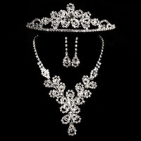 Wholesale Tungsten Key Pendant - 3 PCS Cheap Bridal Jewelry Sets Silver Crystal Pendants Necklaces and Drop Chandelier Stud Rhinstone Earrings Fashion For Party Prom Sale
