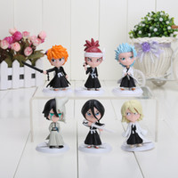 Wholesale Anime Figure Bleach - 6pcs set 7cm Anime Bleach Ichigo Ulquiorra cifer Renji Gin Toushirou PVC Action Figures Toys Dolls