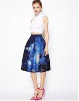 Wholesale Show Trade - 2016 hot style 3 d digital printing blue sky show thin joker bust skirt of tall waist foreign trade wholesale hot style skirt