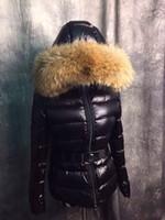 Wholesale White Fur Hooded Ski Jacket - MW09 Luxury Brands Down Parka Warm Abdominal Duck Down Real Raccoon Fur Hoody Belt Slim Jacket For Skiing Woman
