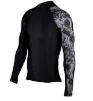 Wholesale faster fitness - New tights men 's sports T - shirt long - sleeved printing fitness fast - drying