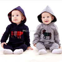 Wholesale Baby One Piece Hoodie - 2016 autumn Christmas baby rompers kids one-piece hoodies Christmas deer jumpsuits infant Climbing clothes C1448