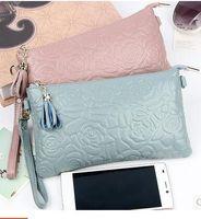 Wholesale Plum Clutch Bags - New 2016 Womens Genuine Leather CC Clutch Elegent Floral Pattern Messenger Bags Big Envelope Long Purses Wallets Bolsas Feminina