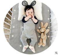 Wholesale Wholesale Lace Romper Pants - Newborn romper Toddler kids stripe lace-up bows suspender romper baby girls double pocket jumpsuits pants autumn Infant clothing T0233