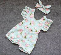 Wholesale Toddler Headband Headwrap - hot baby girl infant toddler 2piece outfits floral romper diaper covers bloomers Ruffles Lace + bowknot headband headwrap cotton