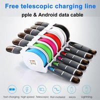 Wholesale Custom Wire Cable - USB Micro Android data cable charging line Compatible with mobile phone Free stretch Copper wire Lightning data line Custom logo