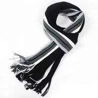 ingrosso sciarpa a maglia a righe-All'ingrosso-Inverno moda sciarpa uomo sciarpa di cotone a righe femminile maschio di marca scialle avvolgere maglia cashmere bufandas Sciarpa a righe con nappe