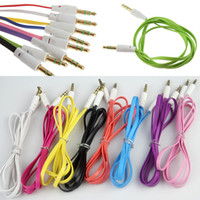 Wholesale Colorful Plug Phone - Wholesale Flat Noodle 3.5mm Aux Colorful Audio Auxiliary Cable Jack Male to Male Plug Stereo Cord Wire for iphone Samsung Phone