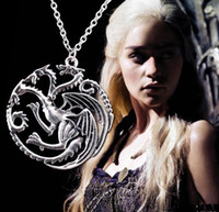 Wholesale Halloween Blood - Free Shipping 2016 New Arrival Flim Jewelry Daenerys Targaryen Dragon Necklace Game of Throne Fire And Blood Pendant Necklaces