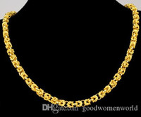 Wholesale mens necklace length - Fast Free shipping fine Yellow Gold jewelry24K yellow solid gold necklace mens domineering leader necklace wide 7mm length 53cm 48.5g
