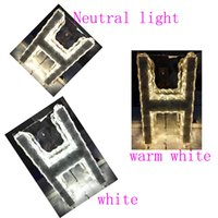 Wholesale White Wall Plate Switch - Remote control of color temperaturThe letter H shaped LED crystal lamp door plate decoration Art Hotel Cafe corridor lamp wall lamp lighting