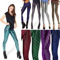 Wholesale Wholesale Junior Leggings - Hot 8Colors Mermaid scale leggings 2016 Lady Juniors fashion pants European fan candy colores slim leather leggings Mermaid scales Tights