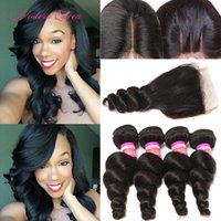 Wholesale Cheapest Bundle Hair - Cheapest High Quality Indian Loose Curls Lace Top Closure And 4 Bundles Hair Wefts Indian Loose Wave Human Hair Extension Sales Promotion