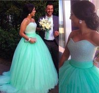 Wholesale Prom Dress Tulles Ball Gown - Elegant 2017 Mint Green Princess Prom Ball Gowns Sweetheart Beading Pearls Sexy Evening Gowns Puffy Romantic Tulles Backless Pageant Dress
