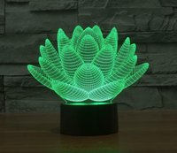 Wholesale Table Lamp Led Flowers - New Lotus Flowers Acrylic Night Light 3D LED Touch Switch Colorful Gradient Novelty Lighting Table lamp Home Decor