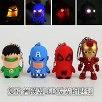 Wholesale Cartoon Pendent - The Avengers Superheroes LED keychain Batman Ironman Spiderman Superman Captain America Super hero Led light sound Keychains keyring pendent